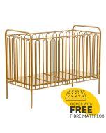 Kudl Kids, Vintage Metal Baby Cot 150 Gold - Right Side + Mat