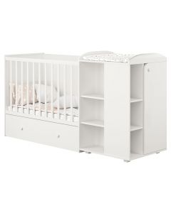 Kudl, 800 Cot with Drawer and Storage Unit - White - Front View
