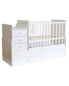 Kudl, Cotbed Simple 1100 with Drawer Unit White - Side View