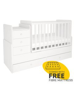 Kudl, Cotbed Simple 1100 with Drawer Unit White - Side