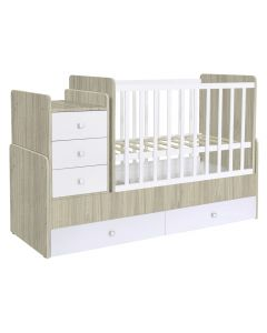 Kudl, Cotbed Simple 1100 with Drawer Unit Elm/White - Side View