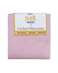 Kudl Kids, 2 x Cotton Pillowcases Pink - Packaged