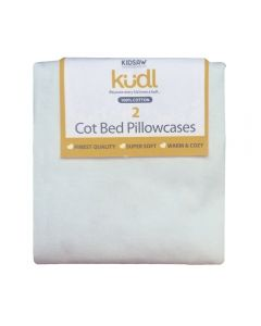 Kudl Kids, 2 x Cotton Pillowcases White - Packaged