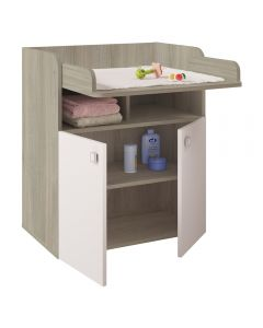 Kudl Kids, Changing Board Cupboard with Storage 1270 - Elm/White