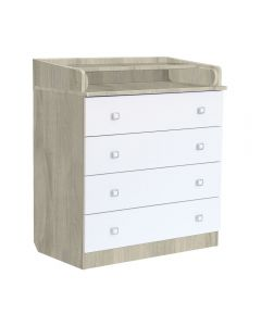 4 Drawer Unit 1580 With Changing Board and Storage Elm/White - Right Side