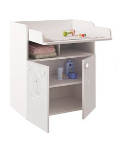 Changing Board Cupboard with Storage 1270, Teddy Print White - Right Side doors open