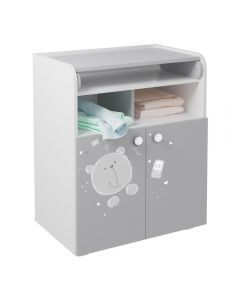 Kudl Kids, Changing Board Cupboard with Storage 1270, Teddy Print - White/Grey