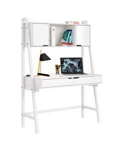 Kudl Home, Trestle Work Station Desk - White - Front Side