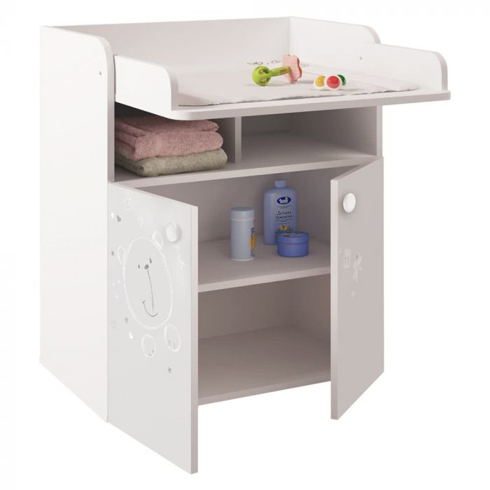 Terrific Kudl Kids Changing Board Cupboard With Storage 1270 Teddy Print White Download Free Architecture Designs Embacsunscenecom