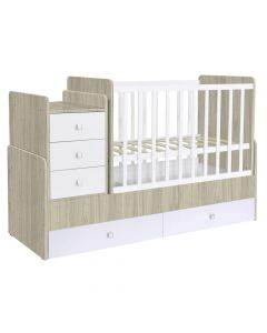 Kudl, Cotbed Simple 1100 with Drawer Unit - Elm/White