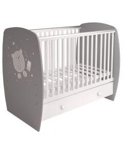 Kudl Kids, Baby Cot French 710 Teddy Print White, - Front Side View