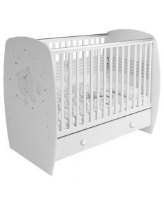 Kudl Kids, Baby Cot French 710 Teddy Print - White
