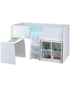 Kidsaw Loft Station Single 3ft Cabin Bed Bundle White - Right Side